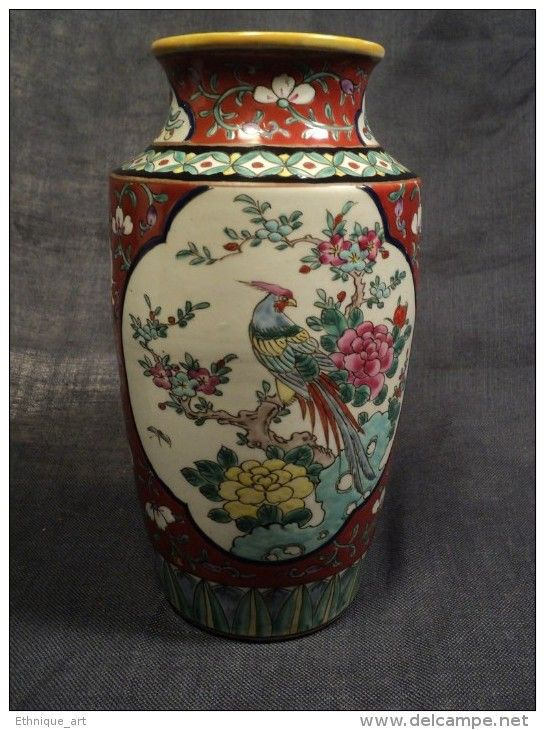 ancien vase chinois famille verte porcelaine chine red chinese porcelain ceramic19th art d. Black Bedroom Furniture Sets. Home Design Ideas