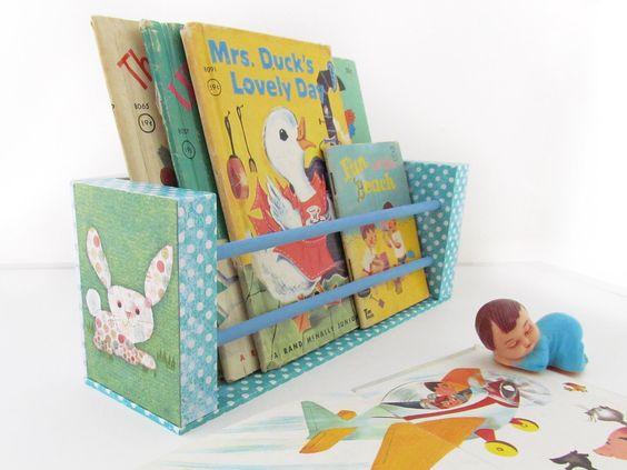 Bunny Rabbit Book Holder / Wall Rack - Baby Board Books Organizer - Children's Decor - Playroom Decor - Nursery Decor. $45,00, via Etsy.