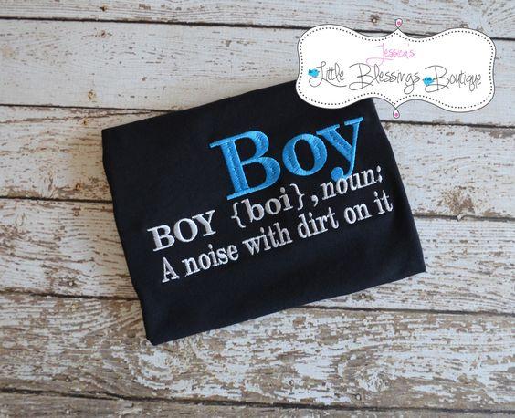 Boy definition shirt onesie by 5littleblessings on Etsy, $18.00