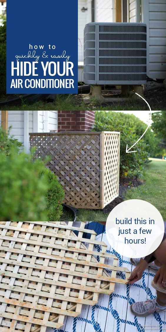 Hide your AC unit with this quick and easy DIY air conditioner screen built from lattice. It's non-permanent and easy to move for access, a great solution for renters or anyone who needs a quick camouflage job. Easy weekend project to improve your curb appeal and yard area. #easydeckstobuild