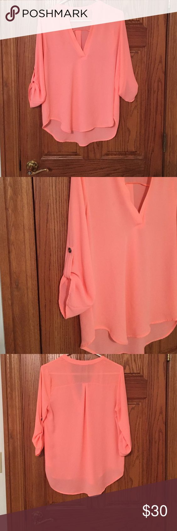 Lush Coral blouse Great condition. Lush deep v neck coral blouse Lush Tops Blouses