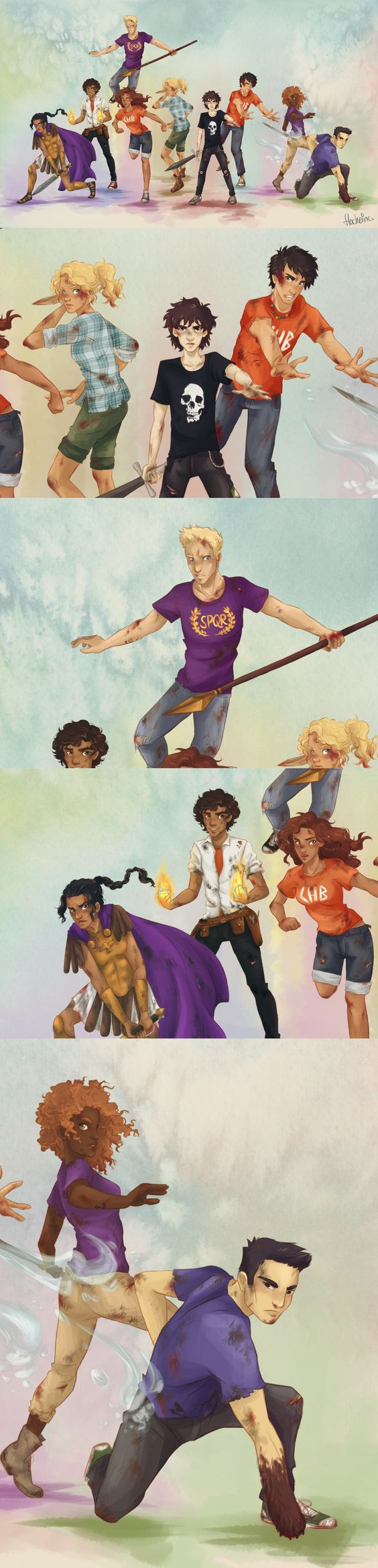 Heroes of Olympus characters. I wish I knew who the artist was!
