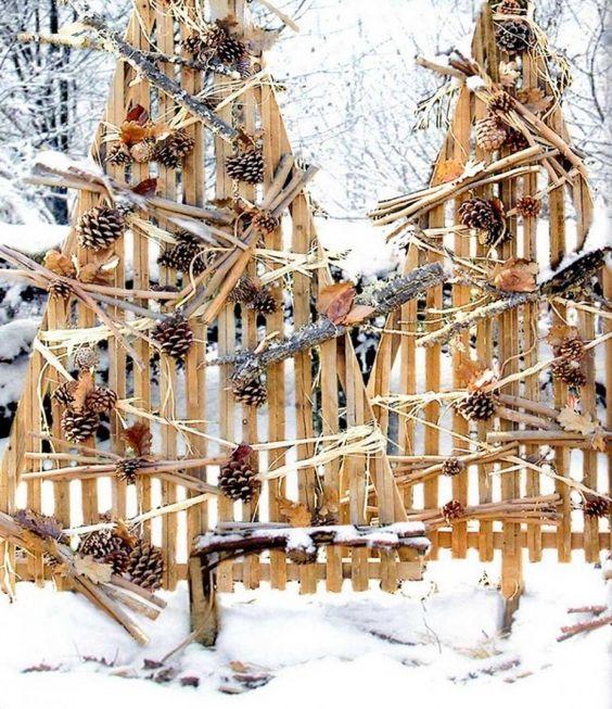 2015 ext rieur en bois rustique d coration de no l arbre - Idee deco de noel exterieur ...