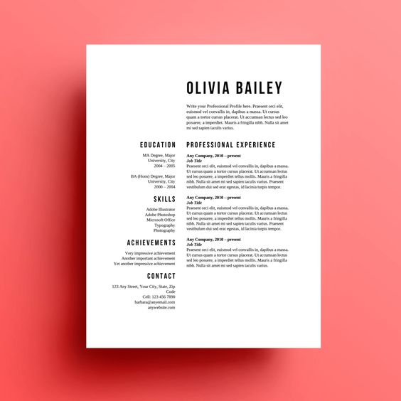 Resume Template Cover Letter instant download by SkylarkingDesigns
