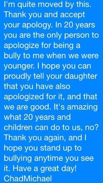 Guy apologizes to gay kid he bullied in high school.  The guy FORGIVES him.  It's never too late!