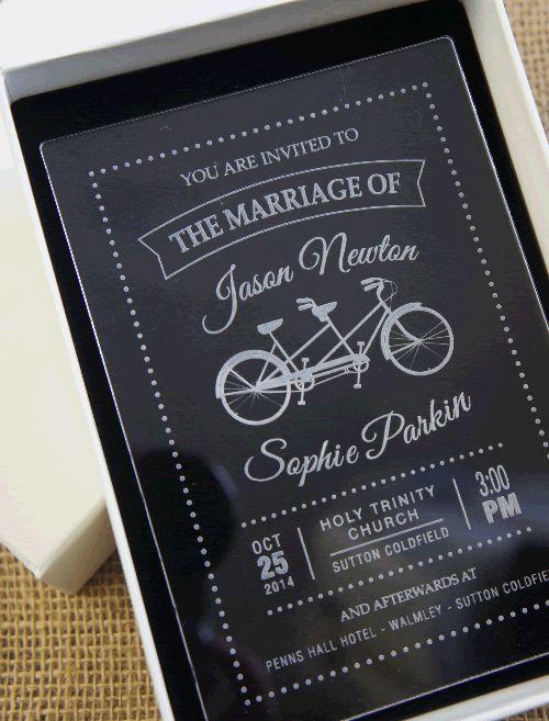Acrylic Wedding Invitation showing a tandem: