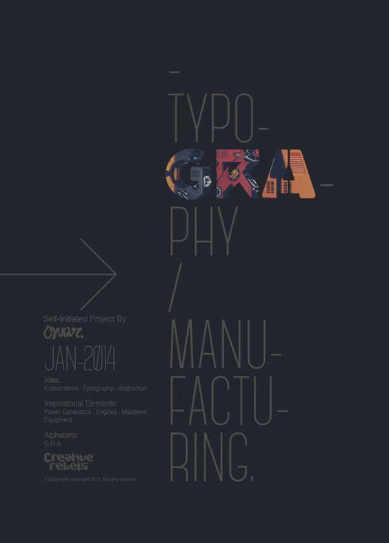 Affiche auto promotionnelle de typographie expérimentale 3D sur le thème Manufacturing Typography.