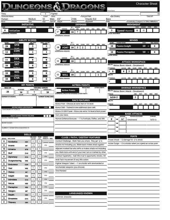 picture relating to Dungeons and Dragons Printable Character Sheet known as Dungeons And Dragons 2nd Version Temperament Sheets Pdf - cubepast