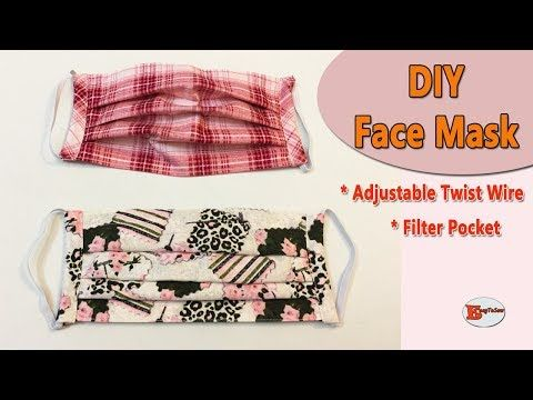 How To Make Face Mask With Filter Pocket And Adjustable Wire