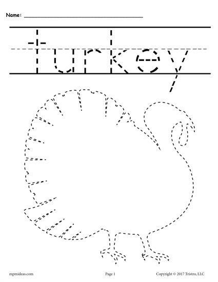 8 Printable Thanksgiving Tracing Worksheets & Handwriting Worksheets! Thanksgiving  Worksheets, Tracing Worksheets, Thanksgiving Worksheets Preschool
