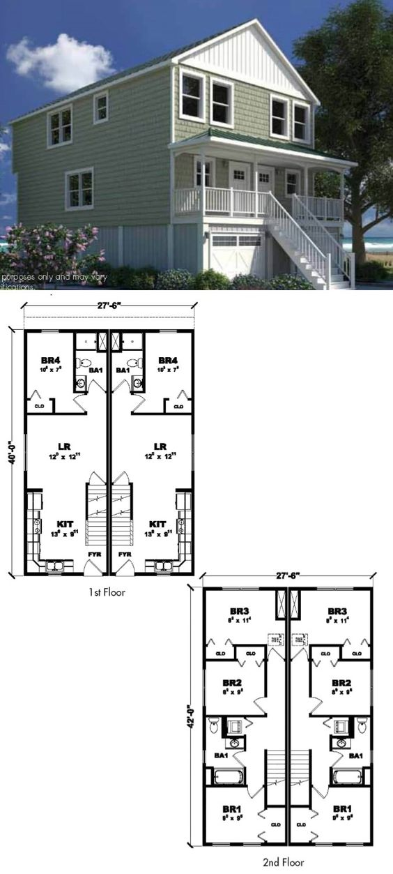 The Coral Sands 1 127 Sq Ft Per Unit Two Story Duplex
