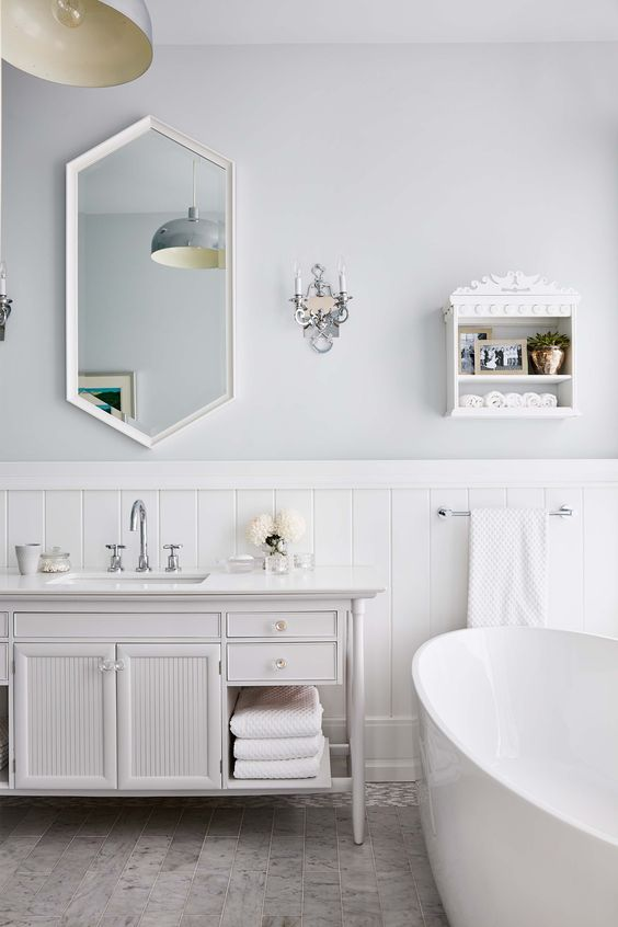 Sarah Richardson's New Modern Farmhouse {Part 3} petite wall shelf mirror vanity bathtub lighting ceiling