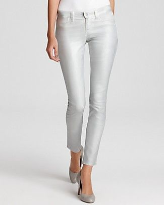 J Brand 901 Stonehenge shine on....J Brand 901 Sparkle Coated Jeggings in Sterling ...