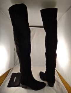 Chanel Tall 14A Thigh High Stretch Suede Pull On OTK Zipper Boots