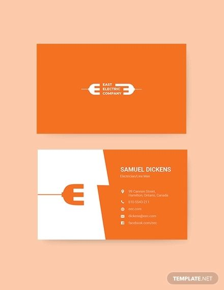 Modern Electrician Business Card Business Card Template Word Modern Business Cards Business Card Logo Design