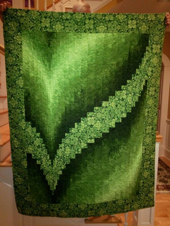 BARGELLO QUILT.............PC  second Two Fabric Bargello, sample for class at Quilts Bayou                                                                                                                                                      More: