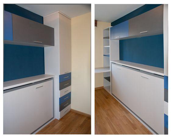 Dormitorio juvenil especial para habitaci nes peque as - Habitaciones camas abatibles ...