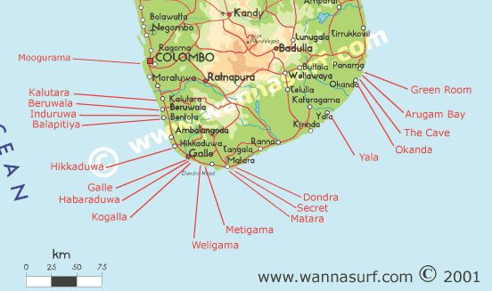 Sri Lanka - Wannasurf.com - Atlas mondial de spots de surf