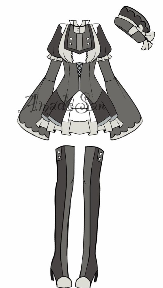 monochromatic victorian outfit adoptable CLOSED by AS-Adoptables.deviantart.com on @DeviantArt