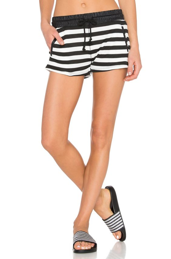 SOLOW Drawstring Lounge Short in Black & White Stripe