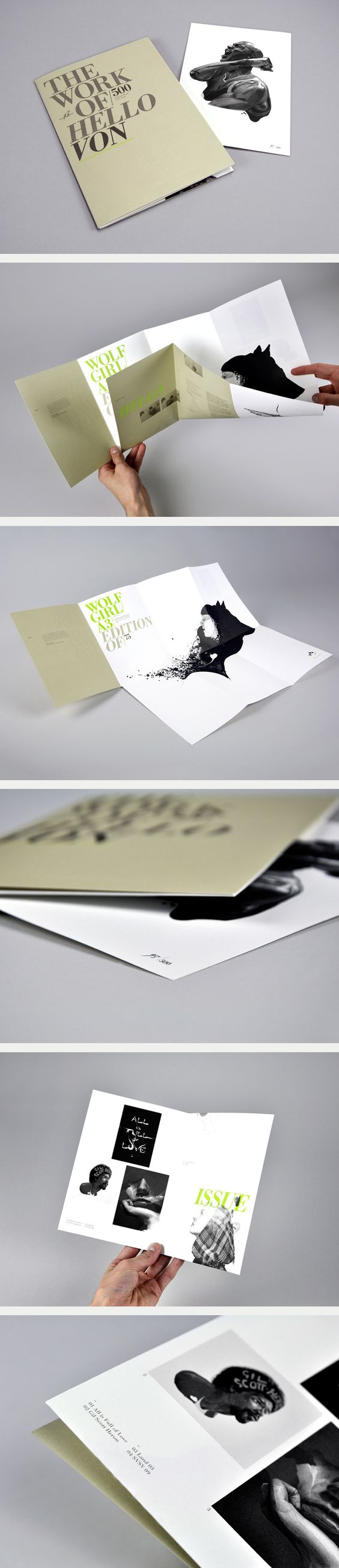 Elegant folding brochure that slowly reveals itself to you promoting HelloVon by Six