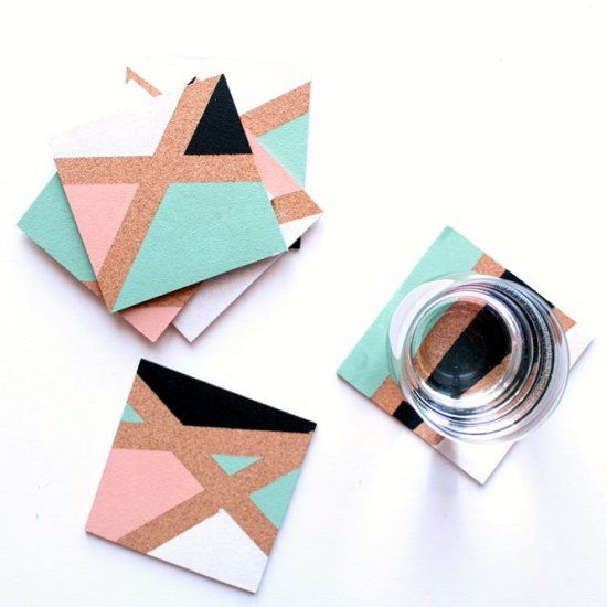 Super-easy tutorial with an amazing result! Make geo color-block coasters with cork, paint and tape for a bang-on-trend look.:
