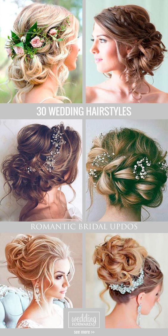 30 Most Romantic Bridal Updos & Wedding Hairstyles ❤ From high-volume &…