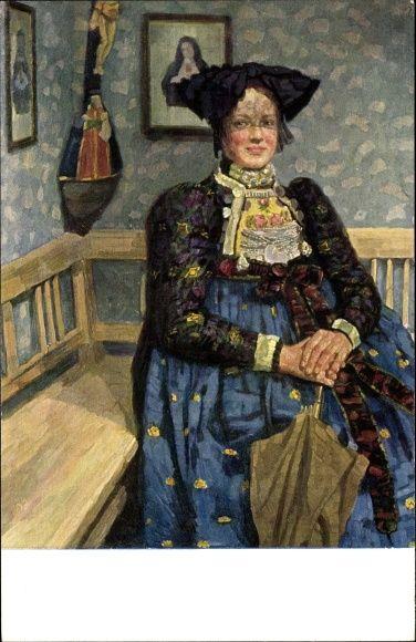 Künstler Ansichtskarte / Postkarte Georgi, Walther, Altbayerisch, Bayerin in Tracht
