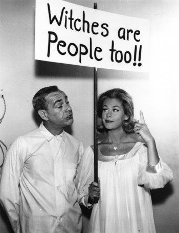 Elizabeth Montgomery as Samantha Stephens, on the set of Bewitched