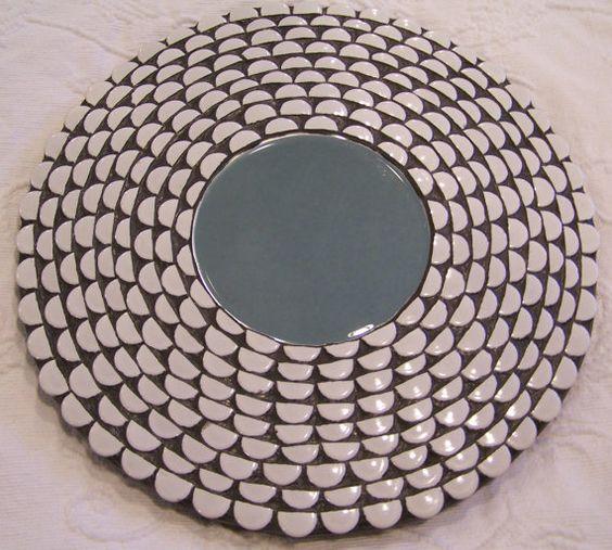 Mosaic Mirror  Original Design  White Penny by PeggyFuhlerDesigns