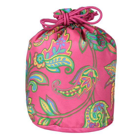 """DD194 Pink Floral Drawstring Sac Item #: DD194 Price: $9.00 This cute little pouch is perfect for all the little things in life: travel things, small things, shower things, gym things, just about everything! The drawstring close keeps even the smallest treasures safe and it comes with a moisture-proof lining.  100% Polyester Moisture-Proof Lining Drawstring close W13"""" x H13"""" x D8"""" Imported"""