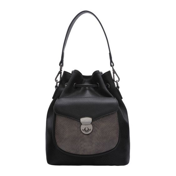 Black Snakeskin Drawstring Bucket Bag ($34) ❤ liked on Polyvore featuring bags and handbags