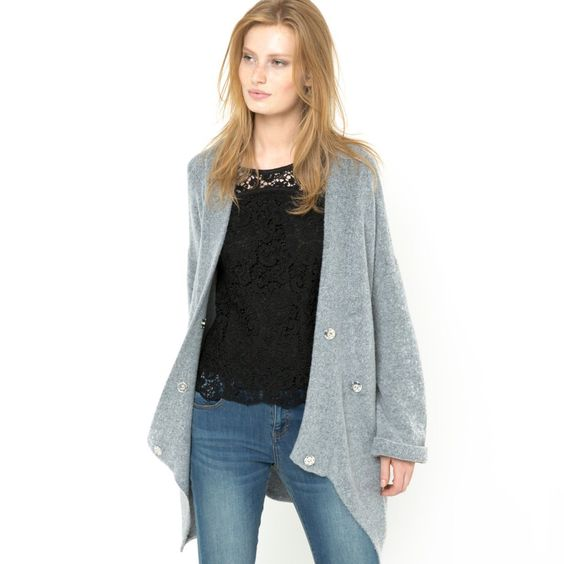 Casaco comprido modelo ovoide Soft Grey | La Redoute