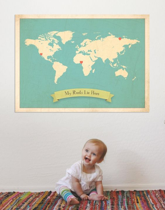 Children Inspire Design's My Roots personalized wall art - a great way to recognize your family heritage and culture and history