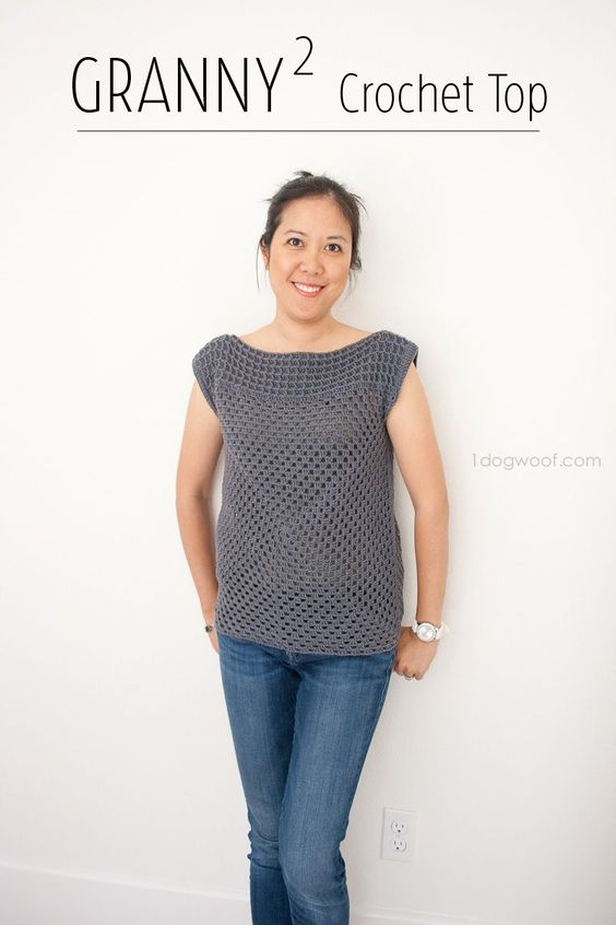 Use basic granny squares to create this simple, modern crochet top!: