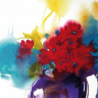 Jill Bryant -Red Petals and Purple Pot  Acrylic on Canvas 50cm x 50cm $295-