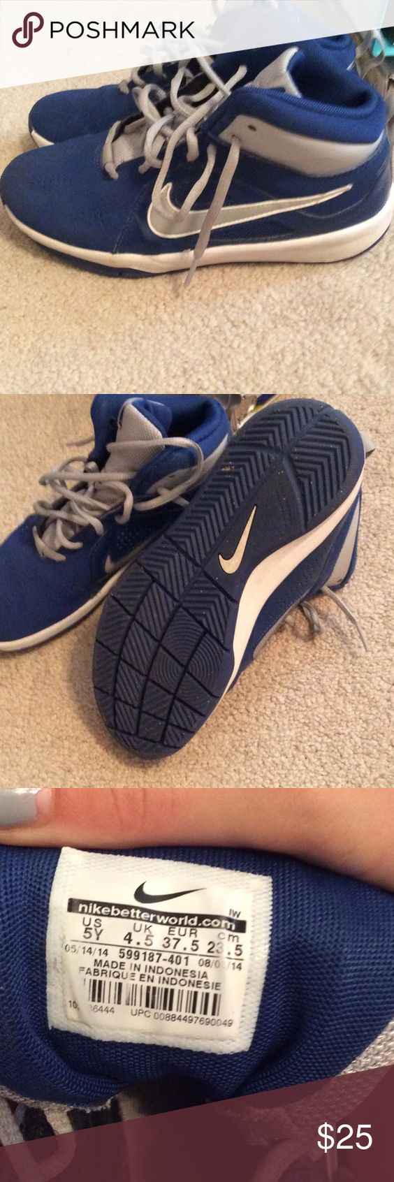 Youth Nike basketball shoes Only worn inside gym. Nike youth size 5 basketball shoes Nike Shoes Sneakers