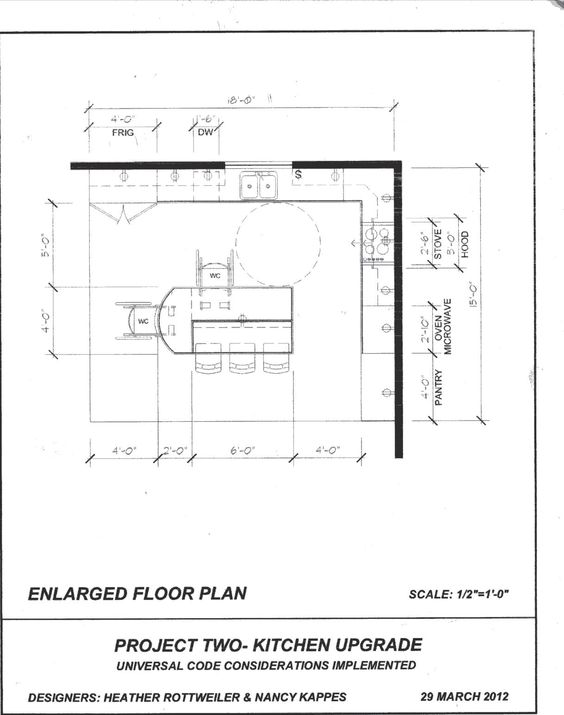 2nd draft kitchen floor plan for other client kitchen for Universal design floor plans