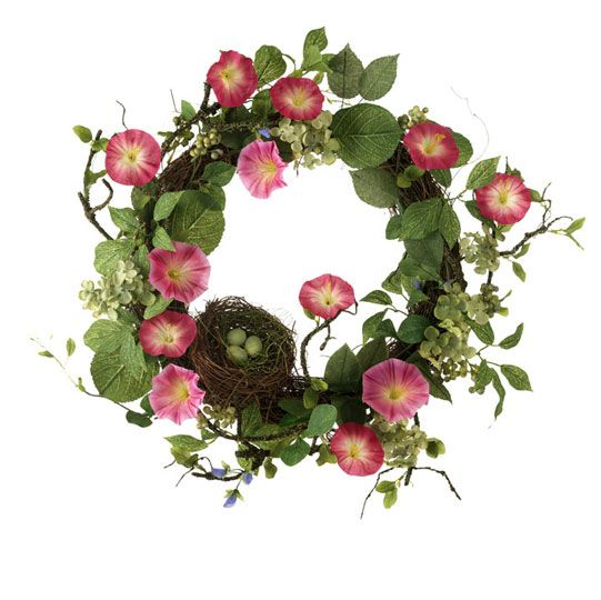petunia flowers with bird nest on grapevine a pretty summer wreath