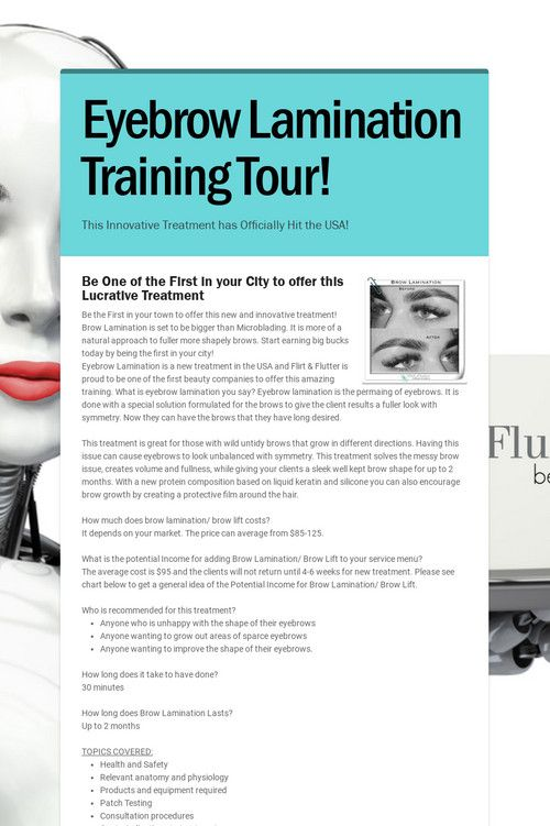 Eyebrow Lamination Training Tour In 2020 Eyebrows Eyelash Extension Training Train