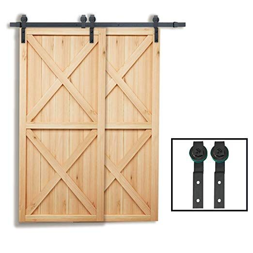 Penson Co Sdh By23 Bk 6 6 Ft Bypass Sliding Barn Hardware Double Wood Doors One Piece Rail Track Kit Sliding Barn Door Hardware Barn Hardware Door Hardware