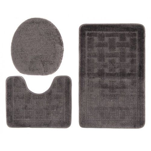 Florie 3 Piece Bath Rug Set Longweave Colour Dark Grey With Images Bath Rugs Sets Rug Sets Cotton Bath Rug