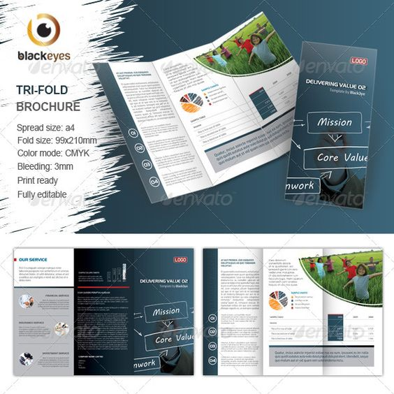Unique TriFold Brochure  Indesign Template  Best TriFold