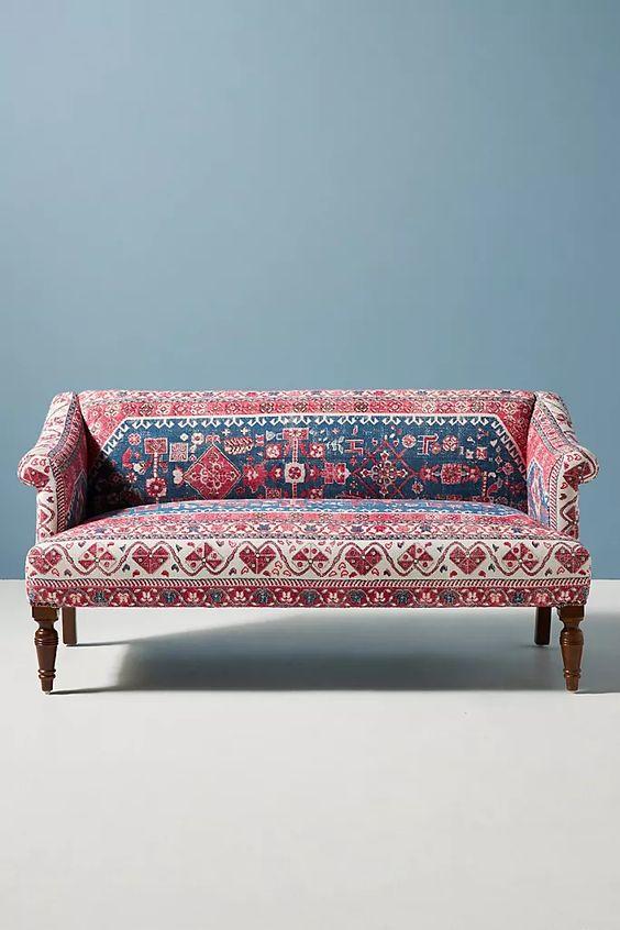 Rug-Printed Anatolia Petite Sofa | Anthropologie