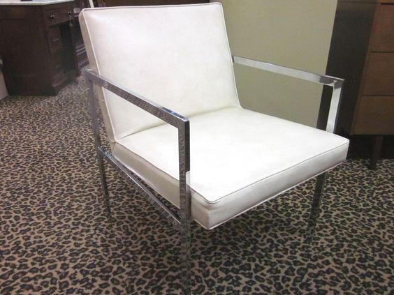 SET of FOUR Milo Baughman Style Chrome + White Vinyl MOD Dining Chairs c1970  #MidCenturyModern