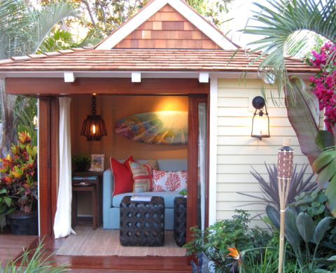 Gardens backyard retreat and nu 39 est jr on pinterest - Turning a shed into a cabin ...