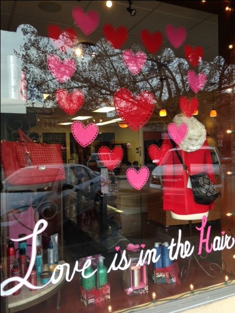 Love Is In The Hair Front Window Display Divine Salon Spa Ripon