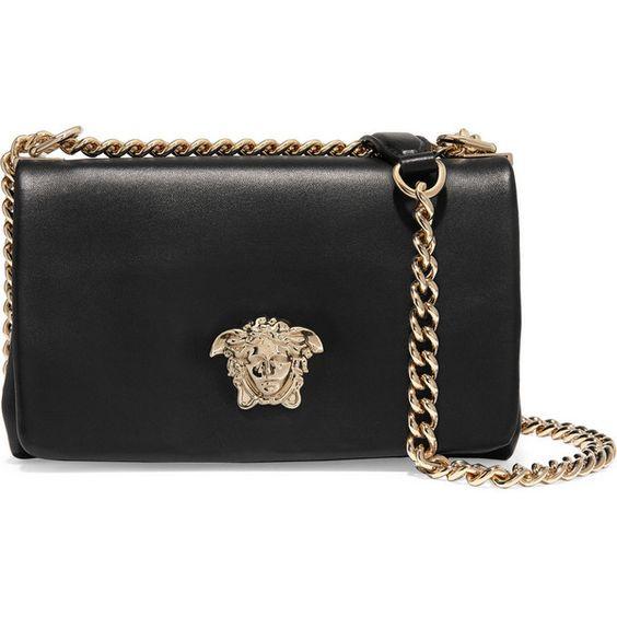 Versace Leather shoulder bag (£1,320) ❤ liked on Polyvore featuring bags, handbags, shoulder bags, versace, black, zipper handbag, real leather handbags, chain handle handbags and shoulder handbags