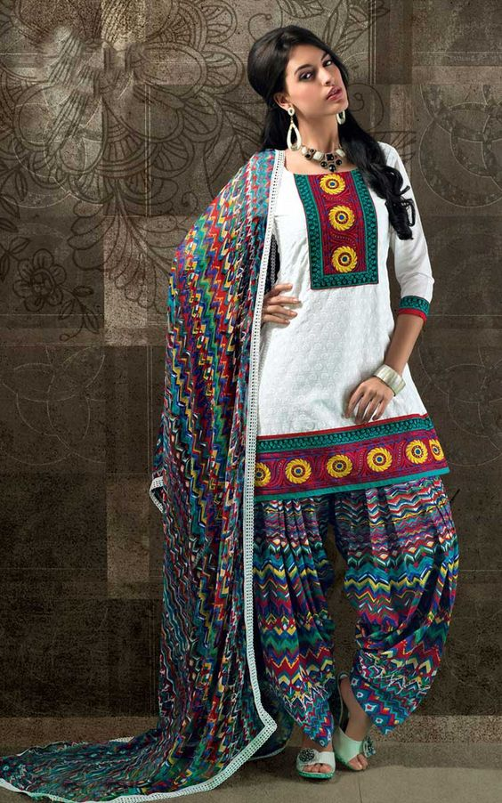 Stitching Styles Of Pakistani Dresses Printed Patiala Shalwar