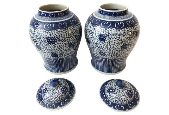 Porcelain Blue & White Ginger Jars, S/2